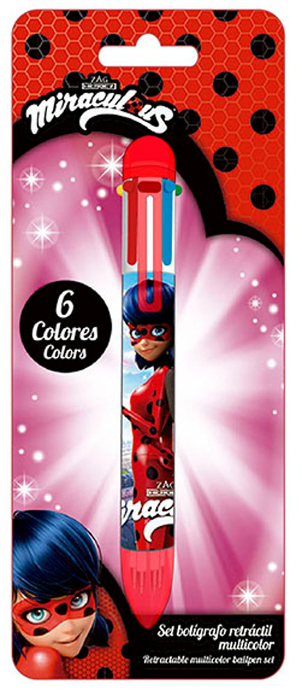 STYLO 6 COULEURS MIRACULOUS LADY BUG